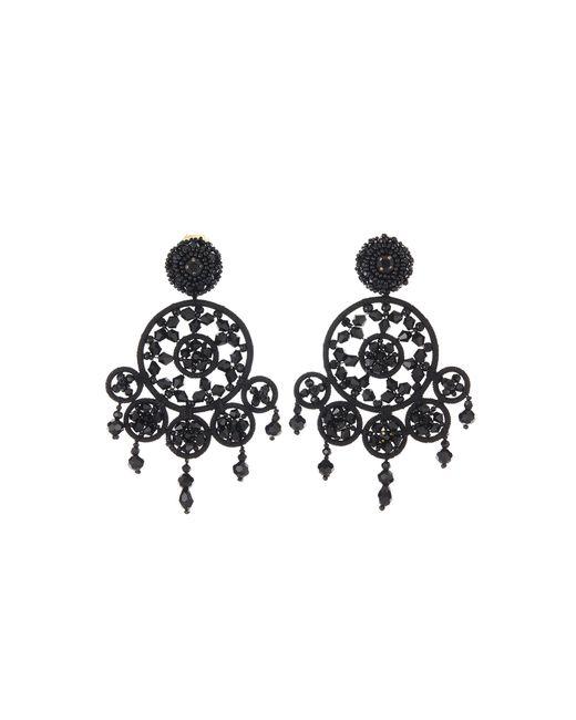 Oscar de la Renta - Black Beaded Dreamcatcher Earrings - Lyst