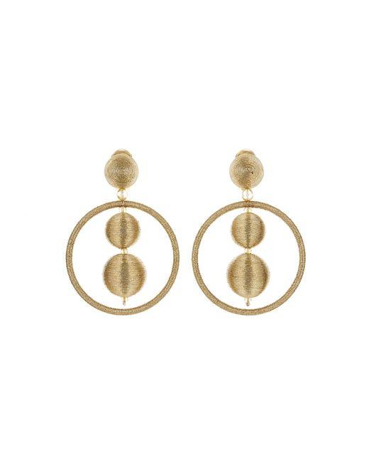 Oscar de la Renta - Metallic Threaded Bead Hoop Earrings - Lyst