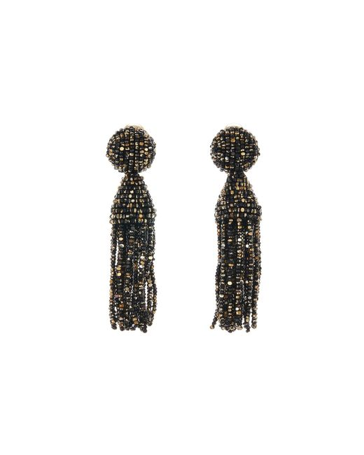 Oscar de la Renta - Black Metallic Short Tassel Earrings - Lyst