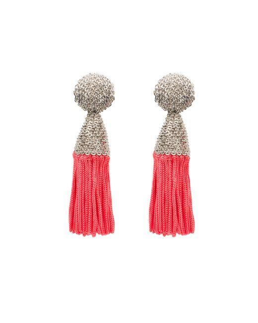 Oscar de la Renta | Metallic Feather Tassel Earring | Lyst