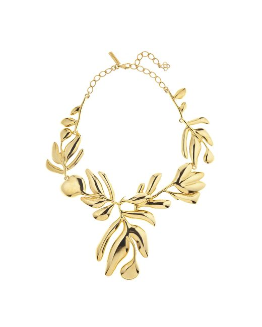 Oscar de la Renta   Metallic Graphic Botanic Necklace   Lyst