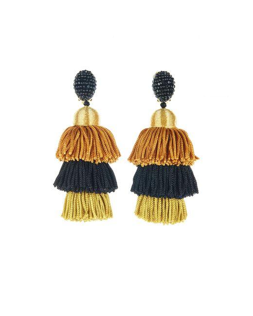 Oscar de la Renta | Metallic Gold Long Silk Tiered Tassel Earrings | Lyst