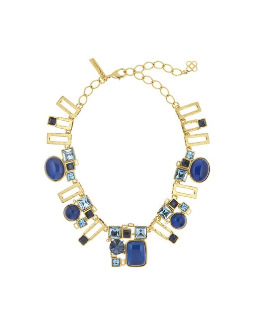 Oscar de la Renta | Blue Geometric Resin And Crystal Necklace | Lyst