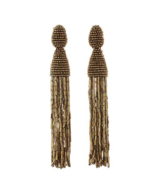 Oscar de la Renta | Metallic Gold Long Beaded Tassel With Tube Earrings | Lyst