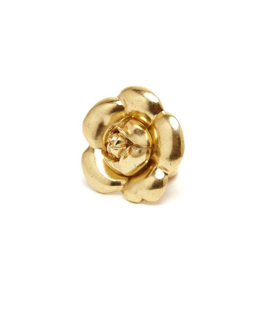 Oscar de la Renta - Metallic Gold Gardenia Flower Ring - Lyst