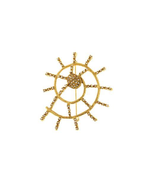 Oscar de la Renta - Metallic Shell Pavé Brooch - Lyst