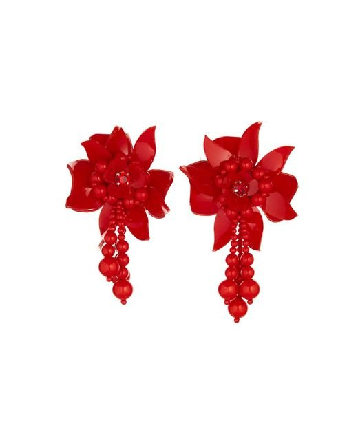 Oscar de la Renta - Red Carmine Flower Field Earrings - Lyst