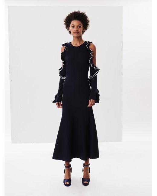Oscar de la Renta - Blue Navy Ruffle Cold-shoulder Merino Wool Dress - Lyst