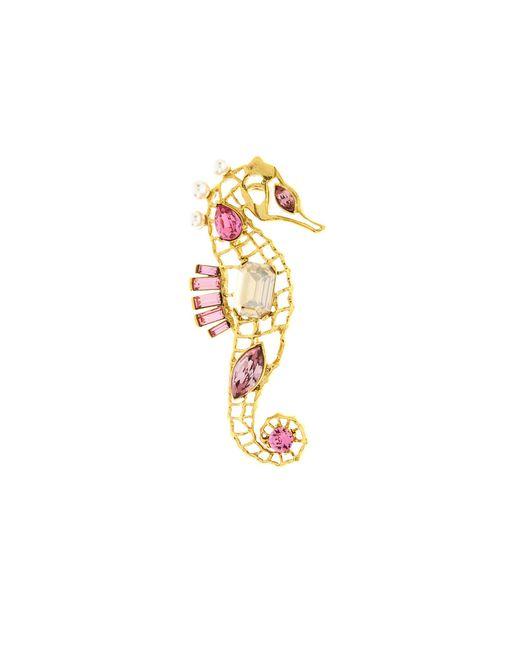 Oscar de la Renta - Metallic Seahorse Crystal Brooch - Lyst