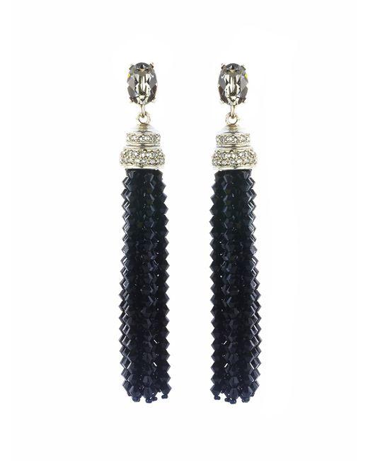 Oscar de la Renta - White Swarovski Crystal & Beaded Long Tassel Earrings - Lyst