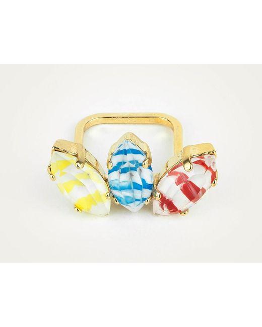 Sabrina Dehoff   Metallic Superfine Ring With Three Feathered Stripes   Lyst