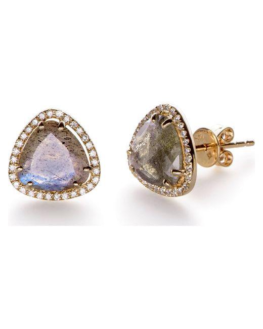 EF Collection | Metallic Diamond Stone Slice Stud | Lyst