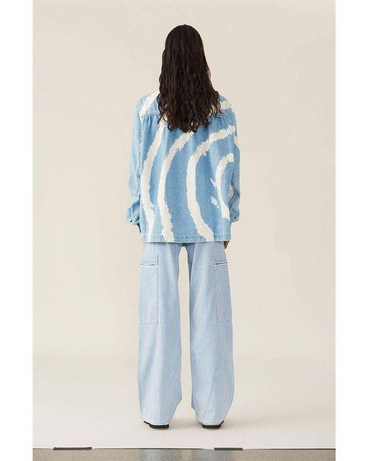 f5a6d46c6e8 ... Ganni - Blue Washed Denim Shirt - Bleach Tie Dye - Lyst ...
