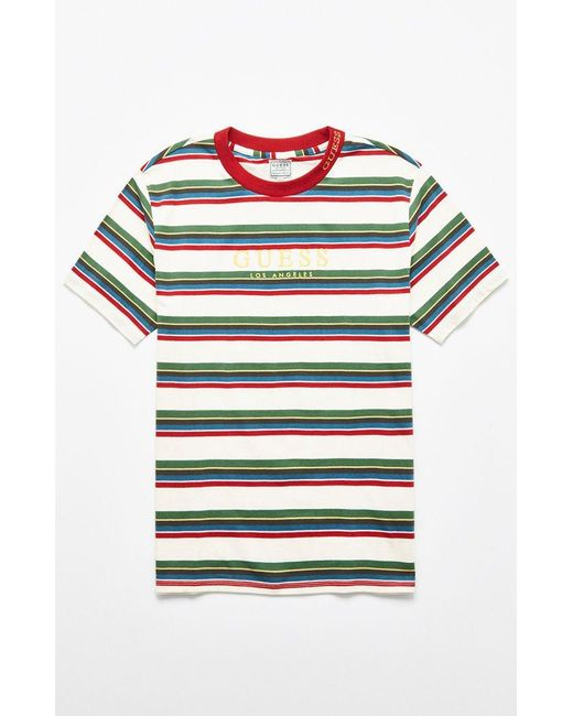 fae55c9418efa Guess - Green Dylan Stripe T-shirt for Men - Lyst ...