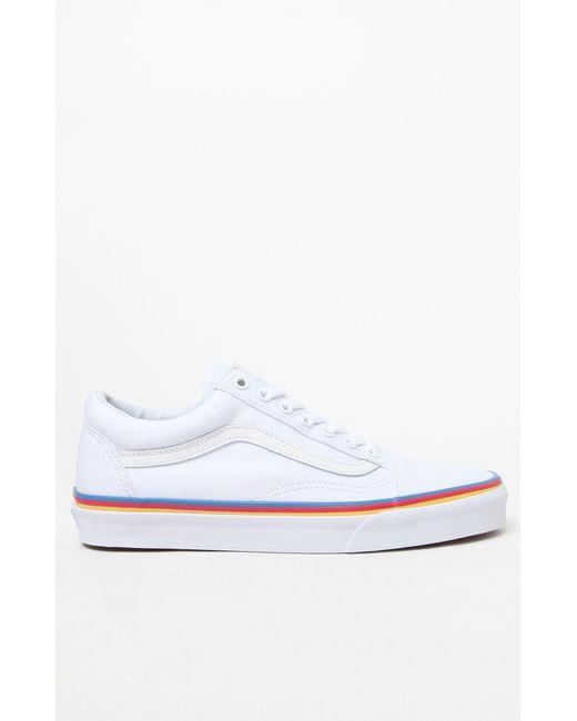 47fa0f53e6b Lyst - Vans Women s Rainbow Foxing Old Skool Sneakers in White