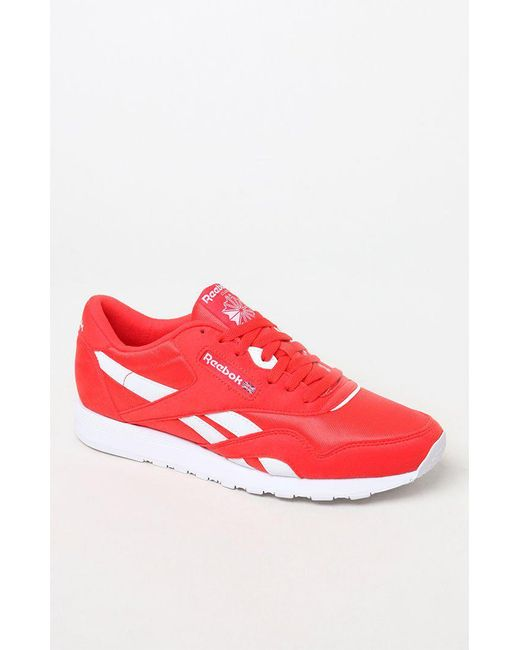 Lyst - Reebok Classic Leather   Nylon Red Shoes in Red for Men 2ec6b17c8