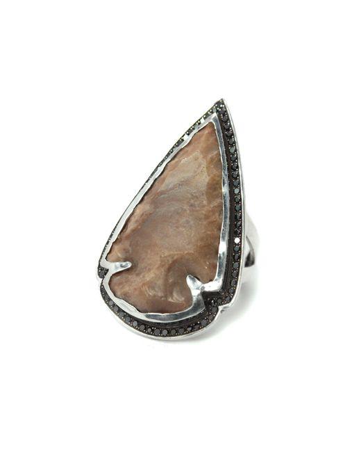 Pamela Love   Natural Jasper Black Diamond Ring - Size 7   Lyst