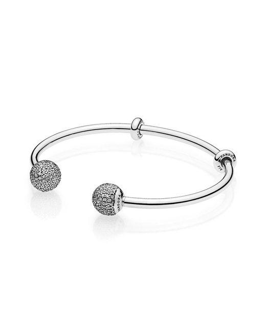 Pandora | Metallic Moments Silver Open Bangle, Pavé Caps | Lyst