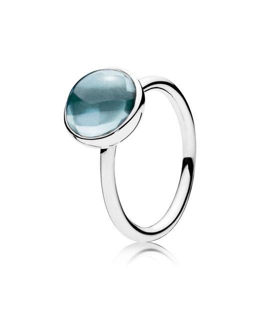 Pandora   Aqua Blue Poetic Droplet Ring   Lyst