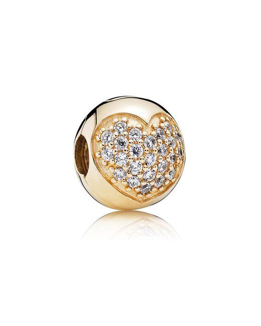 Pandora - Metallic Gold Pavé Heart Clip - Lyst