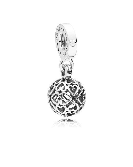 Pandora - Metallic Harmonious Hearts Pendant Charm - Lyst