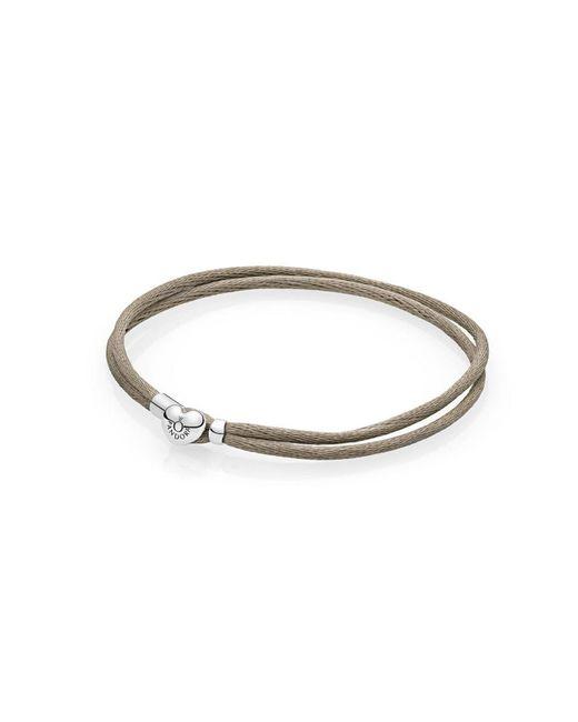 Pandora   Metallic Moments Fabric Cord Bracelet, Grey Green   Lyst