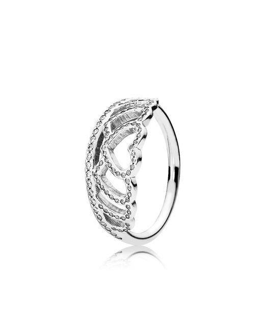 Pandora - Metallic Hearts Tiara Ring - Lyst