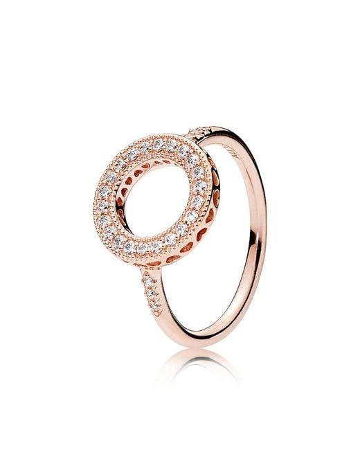 Pandora | Metallic Hearts Of Halo Ring | Lyst