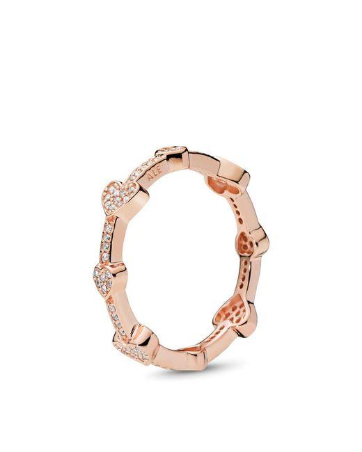 Pandora - Metallic Alluring Hearts Ring - Lyst