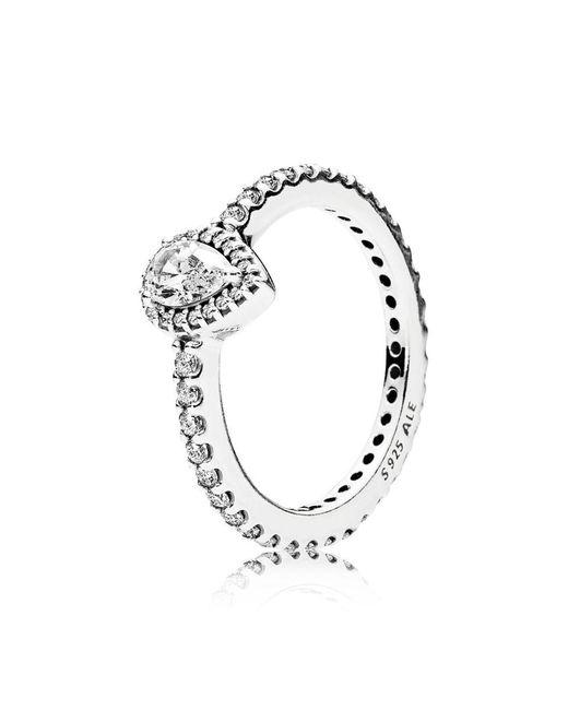 Pandora   Metallic Radiant Teardrop Ring   Lyst