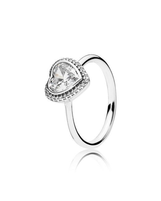 Pandora - Metallic Sparkling Heart Ring - Lyst