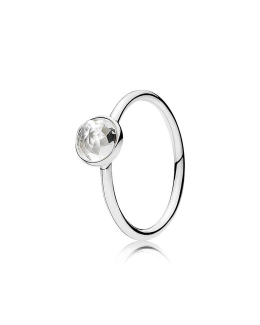Pandora | Metallic April Droplet Birthstone Ring | Lyst