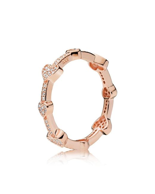 Pandora - Metallic Alluring Hearts Ring - Lyst