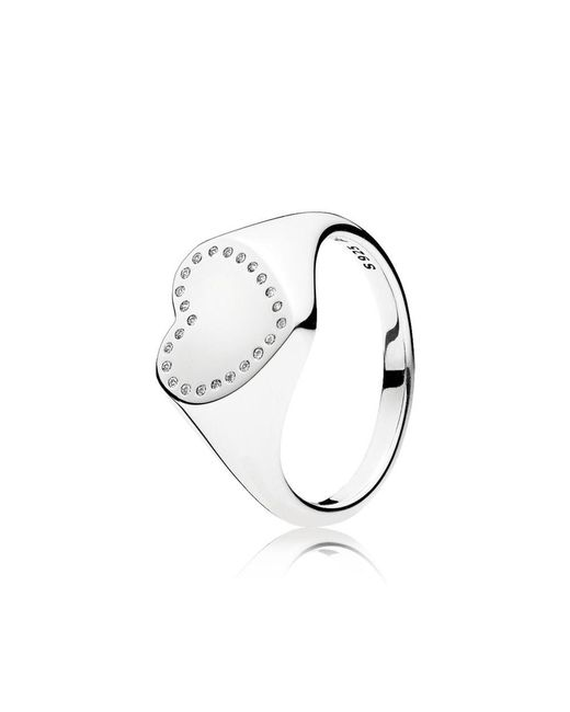 Pandora | Metallic Heart Signet Ring | Lyst
