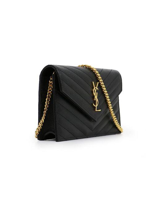 dcc796024aa3 ... Saint Laurent - Monogramme Envelope Quilted Chain Wallet Black gold -  Lyst ...
