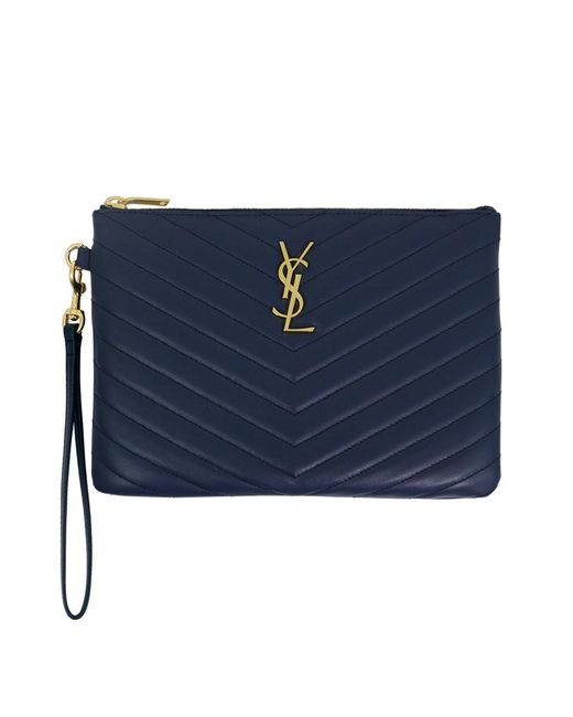 Saint Laurent - Small Monogramme Quilted Pouch Denim Blue gold - Lyst ... 32ac06deb70cb