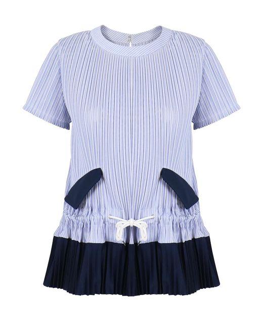 Sacai - Shirting Stripe Top Blue/navy - Lyst