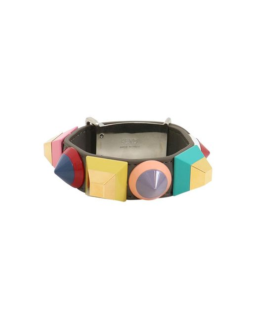 Fendi - Multicolor Geometric Stud Cuff Coal/mutli - Lyst