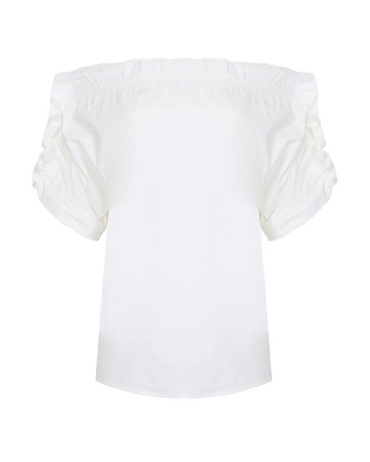 MSGM Off Shoulder Ruffle Top White
