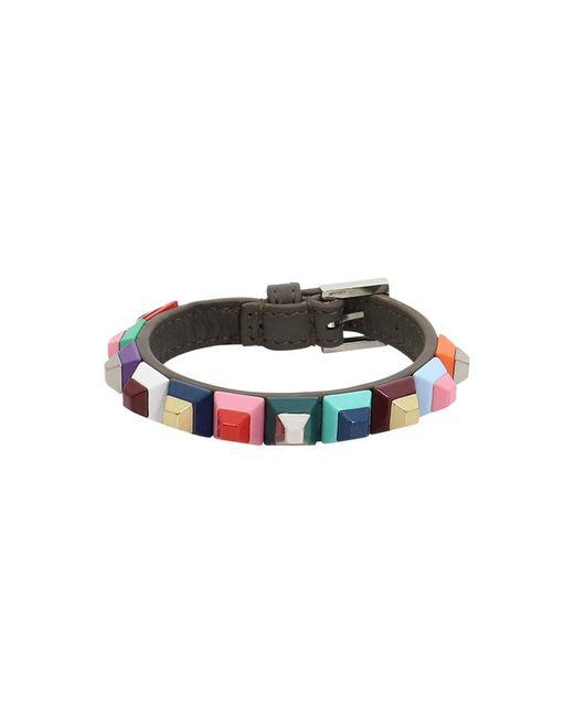 Fendi | Multicolor Geometric Stud Thin Cuff Coal/multi | Lyst