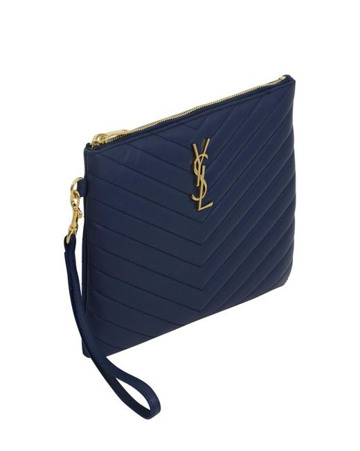 efce471c92ce ... Saint Laurent - Small Monogramme Quilted Pouch Denim Blue gold - Lyst  ...