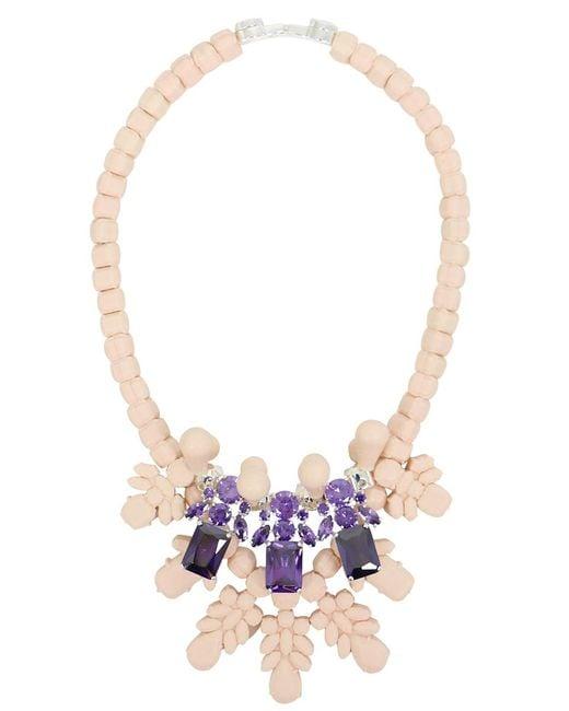 EK Thongprasert - Natural Silicone Three Jewel Neckpiece Beige/amethyst Crystals - Lyst