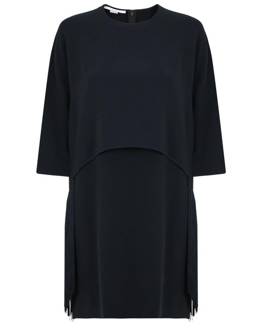 Stella McCartney | Georgia Fringing Cape Dress Black | Lyst