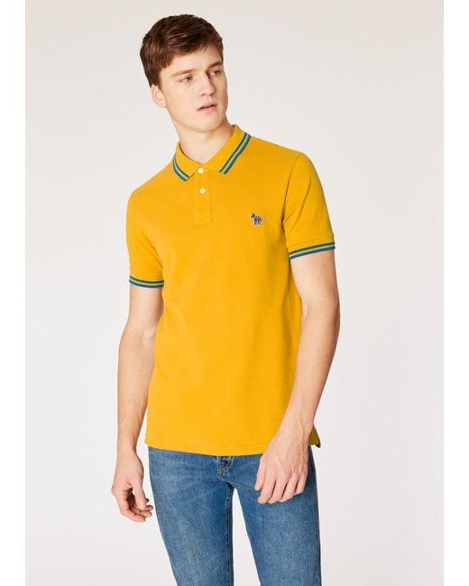 86b91fd5e Paul Smith - Yellow Slim-fit Mustard Zebra Logo Supima Cotton Polo Shirt  With Blue ...
