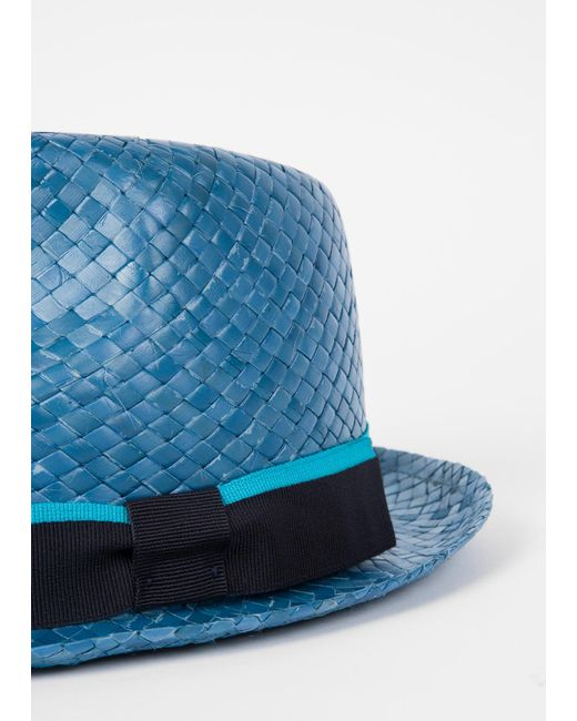 1f27289a0f1 ... Paul Smith - Slate Blue Woven Trilby Hat for Men - Lyst ...