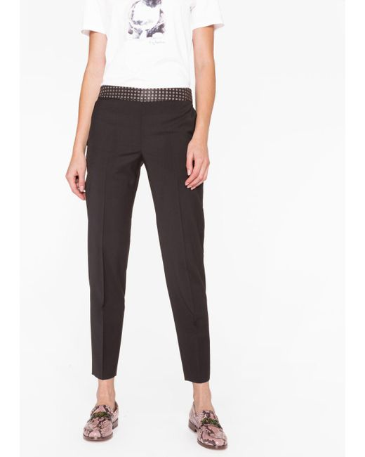 Paul Smith | Women's Classic-fit Black Wool Trousers With Contrast Waistband | Lyst
