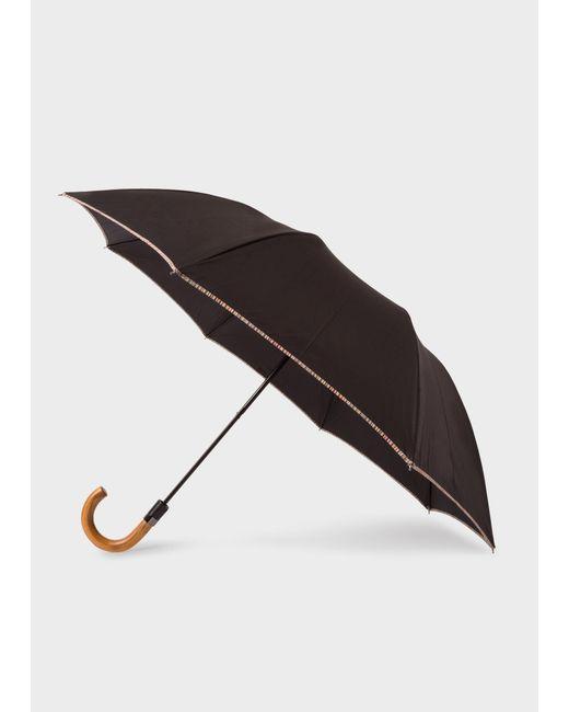 Parapluie Pliant Noir Avec Bordure 'Signature Stripe' Et Pommeau En Bois Paul Smith en coloris Black