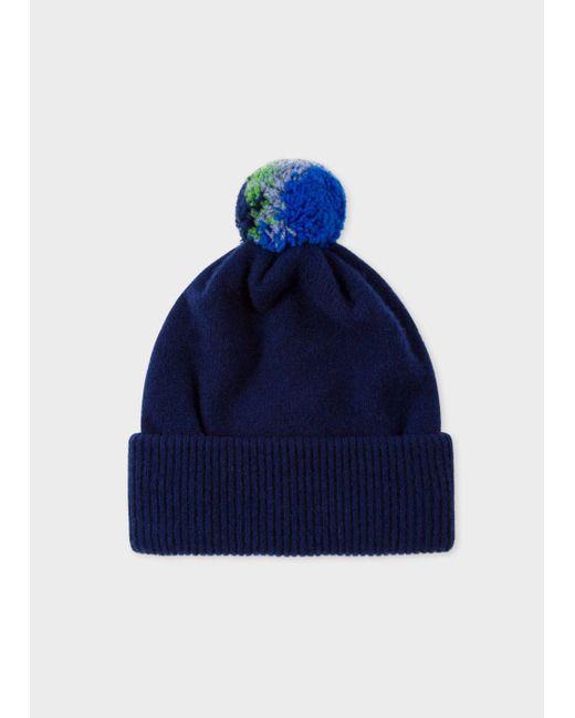 Paul Smith | Blue Men's Navy Lambswool Knitted Bobble Hat for Men | Lyst
