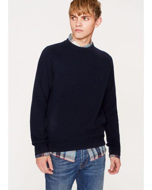 Paul smith Men's Navy Merino Wool Raglan Sleeve Sweater in Blue ...
