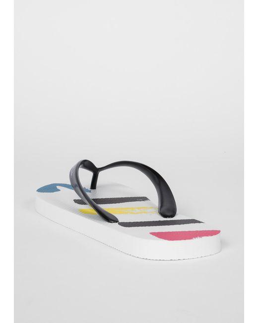 9408c5f553b1 ... Men Paul Smith - White  Painted Sports Stripe   Disc  Flip Flops ...
